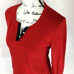 JONES NEW YORK Women's Red Knit Button Front Top
